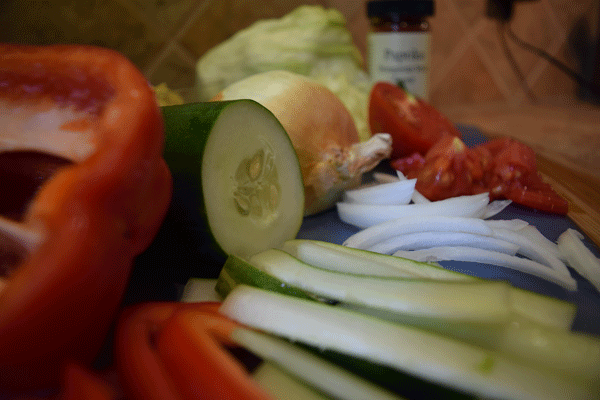Cutting the veggies lengthwise for a wrap works well.