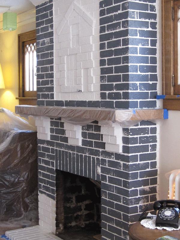 Gray primer on white bricks.