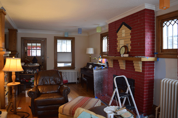 I'm told that the house on the fireplace is rare. People often ask if we did it, but it's original.