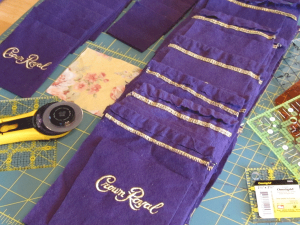Crown Royal bags used for quilts.