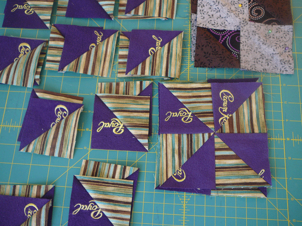 Crown Royal quilt in progress.
